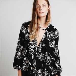 Free People Floral Foil Print Swing Tunic